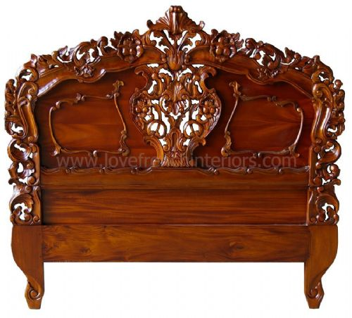 Rococo Ornately Carved Headboard in Mahogany